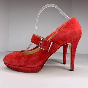 Gianni Bini Red Suede Mary Jane Platform Stilettos